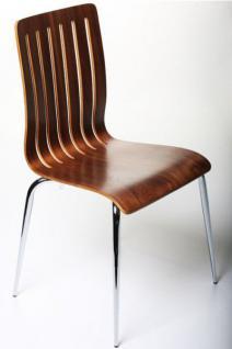 Designer Stuhl aus Holz und verchromtem Stahl in Nussbaum Furnier, Esszimmerstuhl, moderner Wohnzimmerstuhl