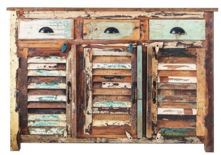Casa Padrino Designer Sideboard Mehrfarbig B.125 x H.100 x T.40 - Kommode - Handgefertigt - Massivholz