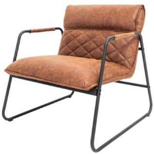 Casa Padrino Retro Lounge Sessel Vintage Hellbraun / Schwarz 71 x 72 x H. 79 cm - Kunstleder Sessel mit Metallgestell - Wohnzimmer Möbel
