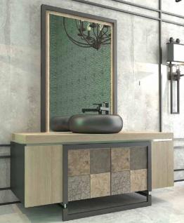 Casa Padrino Luxus Badezimmer Set Naturfarben / Mehrfarbig / Schwarz - 1 Waschtisch mit 4 Türen und 1 Waschbecken und 1 Wandspiegel - Luxus Qualität