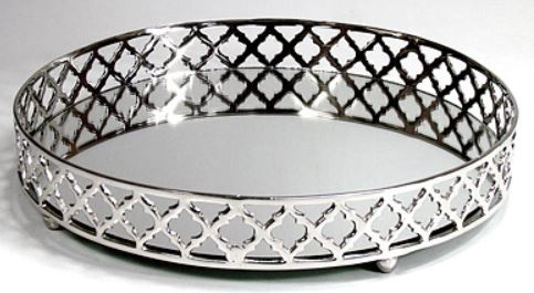 Casa Padrino Luxus Serviertablett mit Spiegel Silber Ø 36 x H. 6, 5 cm - Gastronomie Accessoires