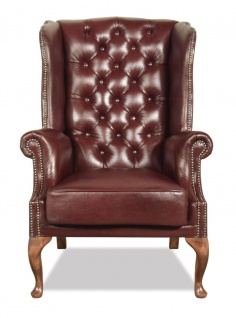 Casa Padrino Chesterfield Echtleder Ohrensessel Dunkelrot 80 x 80 x H. 110 cm - Luxus Sessel