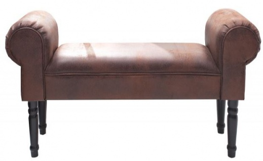 Casa Padrino Designer Sitzbank Braun Breite 100 cm, Höhe 55 cm - Kunstleder