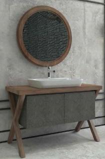 Casa Padrino Luxus Badezimmer Set Dunkelbraun / Dunkelgrau - 1 Waschtisch mit 2 Türen und 1 Waschbecken und 1 Wandspiegel - Luxus Kollektion