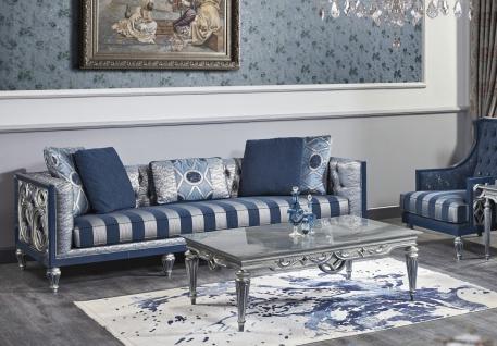 Casa Padrino Luxus Barock Chesterfield Sofa Blau / Silber gestreift 250 x 92 x H. 85 cm - Wohnzimmermöbel im Barockstil