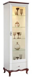 Casa Padrino Luxus Art Deco Vitrinenschrank Weiß / Dunkelbraun 64 x 46, 5 x H. 209, 5 cm - Beleuchteter Wohnzimmerschrank mit Glastür und Schublade - Wohnzimmermöbel