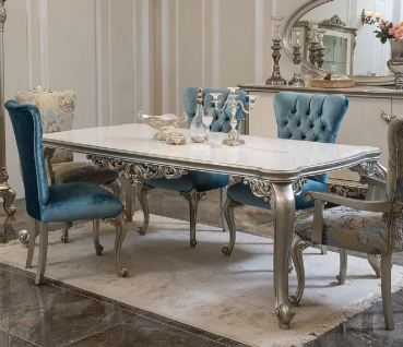 Casa Padrino Luxus Barock Esstisch Weiß / Silber - Massivholz Küchentisch im Barockstil - Barock Esszimmer Möbel