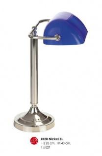 Wunderschöne Schreibtischleuchte mit Glaskristallschirm, Bankerlampe in Silber/Blau, H 40cm, D 26cm, Nickel LB20 BL