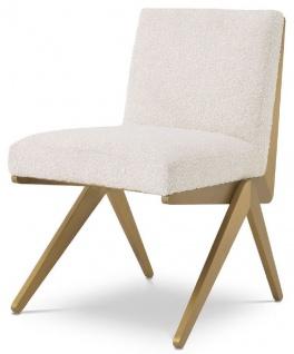 Casa Padrino Luxus Esszimmerstuhl Creme / Messingfarben 54, 5 x 62 x H. 80 cm - Luxus Esszimmer Möbel