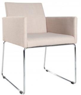 Casa Padrino Designer Stuhl mit Armlehnen Creme 55cm x 80cm x 60cm - Büromöbel