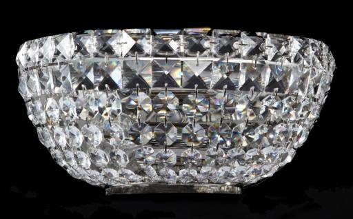 Casa Padrino Barock Kristall Wandleuchte Nickel 25, 5 x H 12, 5 cm Antik Stil - Möbel