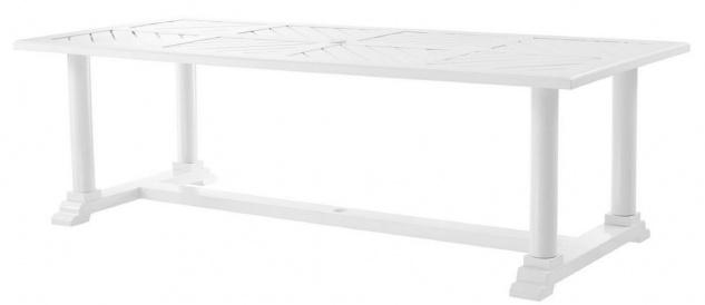 Casa Padrino Luxus Esstisch Weiß 240 x 103 x H. 75 cm - Rechteckiger Küchentisch aus hochwertigen strapazierbarem Aluminium - Gartentisch
