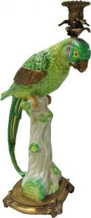 Casa Padrino Jugendstil Porzellan Messing Kerzenständer mit Papagei Grün / Weiß / Gold 17, 5 x 19, 2 x H. 42, 4 cm - Jugendstil Deko Kerzenhalter