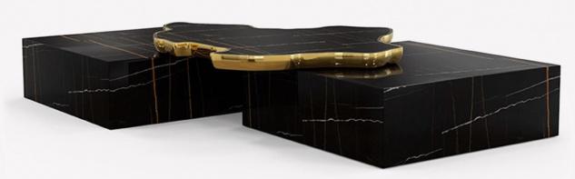 CPBlack Luxus Marmor Couchtisch by Casa Padrino Schwarz / Gold