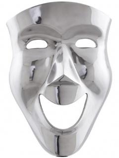 Casa Padrino Luxus Deko Aluminium Maske Silber 31 x 14 x H. 46 cm - Luxus Wanddeko