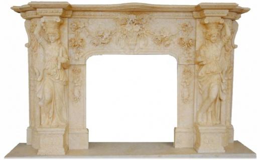 Casa Padrino Luxus Barock Kaminumrandung Beige 233 x 47 x H. 143 cm - Handgefertigte Kaminumrandung aus hochwertigem Marmor - Edel & Prunkvoll