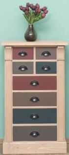 Casa Padrino Landhausstil Massivholz Kommode mit 8 Schubladen Naturfarben / Mehrfarbig 60 x 36 x H. 100 cm - Landhausstil Möbel