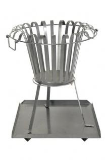 Feuerkorb mit Bodenplatte aus Metall Feuerschale rund Höhe 54 cm, Durchmesser 45, 5 cm - Holzkorb