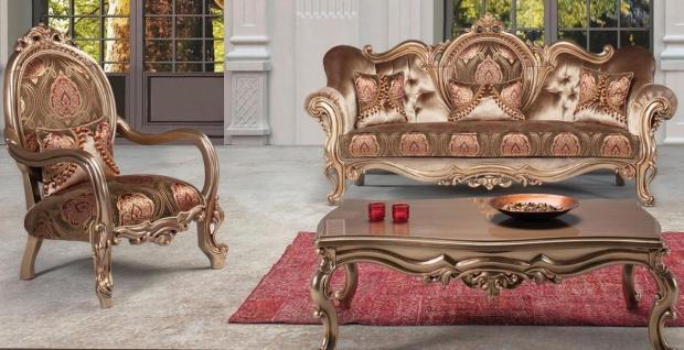 Casa Padrino Luxus Barock Wohnzimmer Set Bronze / Braun / Bordeauxrot - 1 Sofa & 2 Sessel & 1 Couchtisch - Prunkvolle Wohnzimmermöbel im Barockstil