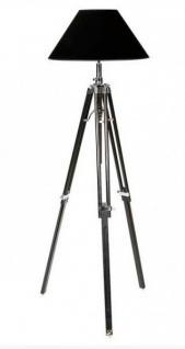 Casa Padrino Luxus Studioleuchte Teleskop Vintage Lampe Stehleuchte Schwarz / Chrom - Nickel Finish - Luxus Qualität