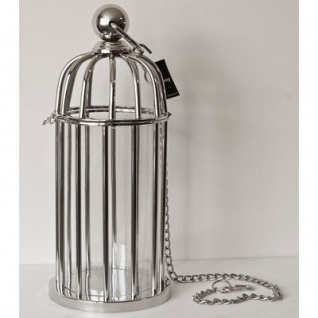Casa Padrino Luxus Laterne Messing vernickelt / Glas Vintage Vogelkäfig Design H48 cm- Kerzenleuchter