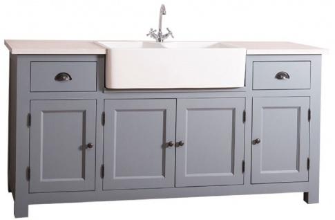 Casa Padrino Landhausstil Waschbeckenschrank Blau / Weiß 180 x 65 x H. 90 cm - Waschtisch mit 4 Türen und 2 Schubladen - Vorschau 2