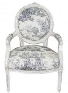 Casa Padrino Barock Medaillon Salon Stuhl Weiß / Blau / Antik Weiß 65 x 50 x H. 95 cm - Barockmöbel