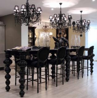 Casa Padrino Luxus Barock Bar Möbel Set Schwarz - 1 Bartisch & 8 Barstühle - Edle Bar Möbel im Barockstil - Hotel Möbel - Luxus Qualität