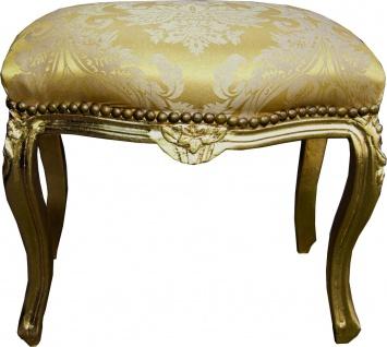 Casa Padrino Barock Hocker Gold Bouquet Muster / Gold Medium