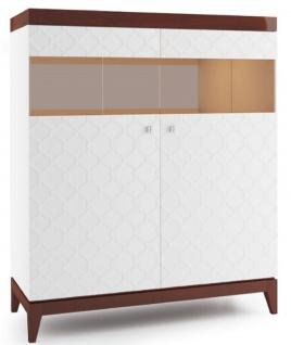 Casa Padrino Luxus Barschrank mit 2 Türen Weiß / Hochglanz Braun 111, 2 x 45 x H. 132, 8 cm - Luxus Kollektion