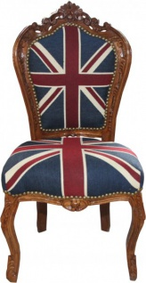 Casa Padrino Barock Esszimmer Stuhl Union Jack / Braun - Möbel Antik Stil