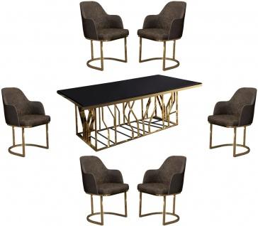 Casa Padrino Luxus Esszimmer Möbel Set Grau / Gold / Schwarz - 1 Esstisch & 6 Esszimmerstühle - Luxus Esszimmer Möbel