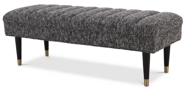 Casa Padrino Luxus Sitzbank Schwarz / Messingfarben 134 x 50 x H. 45 cm - Gepolsterte Massivholz Bank - Wohnzimmer Möbel - Hotel Möbel - Luxus Kollektion