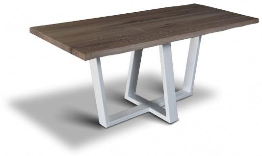 Casa Padrino Luxus Massivholz Esstisch mit Stahlbeinen - Verschiedene Farben & Größen - Küchentisch in rustikaler Optik - Rustikale Massivholz Esszimmer Möbel