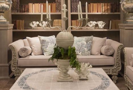 Casa Padrino Luxus Barock Sofa Hellgrau / Grau 220 x 100 x H. 80 cm - Handgeschmiedetes Schmiedeeisen Sofa mit Kissen - Wohnzimmer Sofa - Garten Sofa - Terrassen Sofa - Barock Möbel
