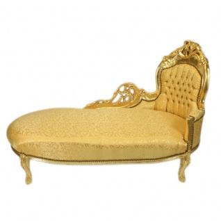 Casa Padrino Barock Chaiselongue Gold Muster / Gold - Barock Möbel - Recamiere Liege