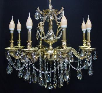 Casa Padrino Barock Kristall Kronleuchter 8-Flammig Gold ModK7 - Hängeleuchte Lüster Hängelampe Deckenlampe