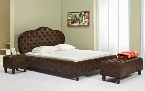 Casa Padrino Chesterfield Doppelbett Dunkelbraun / Schwarz - Verschiedene Größen - Elegantes Massivholz Bett mit Kopfteil - Chesterfield Schlafzimmer Möbel