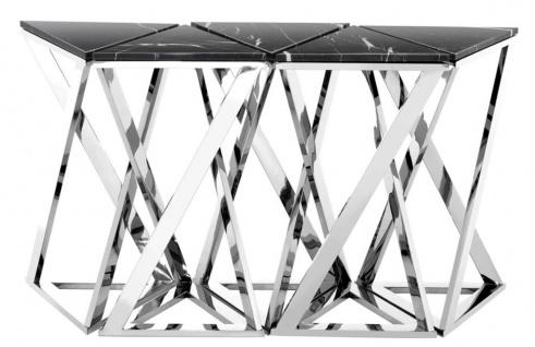 Casa Padrino Luxus Konsolen 5er Set in silber mit schwarzem Marmor 143 x 41 x H. 80, 5 cm - Designer Hotel Möbel - Vorschau 2