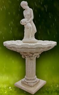 Casa Padrino Jugendstil Gartenbrunnen / Springbrunnen Frau mit Krug Grau Ø 125 x H. 203 cm - Barock & Jugendstil Gartendeko Accessoires