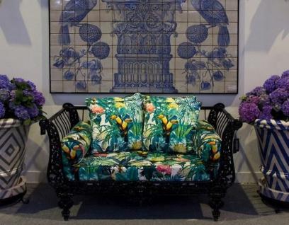 Casa Padrino Luxus Barock Sofa Schwarz / Mehrfarbig 137 x 87 x H. 77 cm - Handgeschmiedetes Schmiedeeisen Sofa mit Kissen - Wohnzimmer Sofa - Garten Sofa - Terrassen Sofa - Barock Möbel