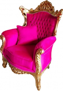 Casa Padrino Barock Sessel Al Capone Pink / Gold mit Bling Bling Glitzersteinen - Limited Edition
