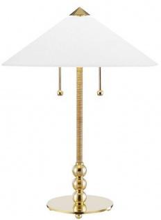 Casa Padrino Luxus Tischleuchte Antik Messing / Weiß Ø 45, 7 x H. 61 cm - Tischlampe mit rundem Glas Lampenschirm