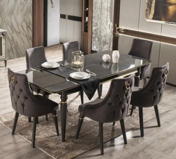 Casa Padrino Luxus Art Deco Esszimmer Set Grau / Schwarz / Gold - 1 ausziehbarer Esszimmertisch & 6 Esszimmerstühle - Art Deco Esszimmer Möbel - Luxus Qualität