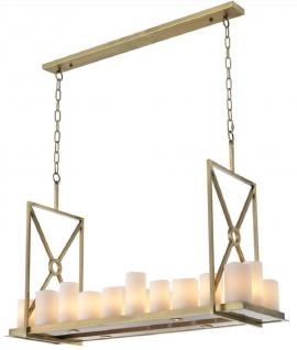 Casa Padrino Luxus LED Kronleuchter Messingfarben / Weiß 120 x 39 x H. 79 cm - Moderner Kronleuchter mit Fernbedienung - Luxus Qualität