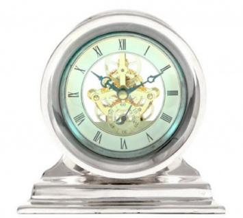 Casa Padrino Jugendstil Tischuhr Silber 18 x 8, 5 x H. 17, 5 cm - Schreibtischuhr - Wohnzimmer Büro Deko Accessoires