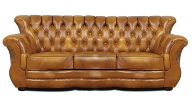 Casa Padrino Luxus Chesterfield Echtleder 3er Sofa Braun 200 x 85 x H. 90 cm - Echtleder Möbel