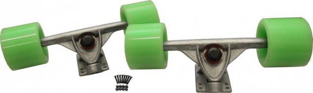 Longboard Profi Achsen + Rollen + Kugellager + Schrauben Set 180mm Trucks Silver / 59 x 45 mm / 78a Wheels Grün - Vorschau