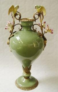 Casa Padrino Luxus Porzellan Vase mit 2 Griffen H. 55, 5 cm - Limited Edition