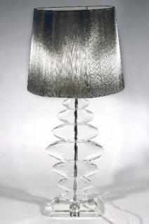 Elegante Kristall Hockerleuchte mit silbernem runden Schirm Leuchte Lampe